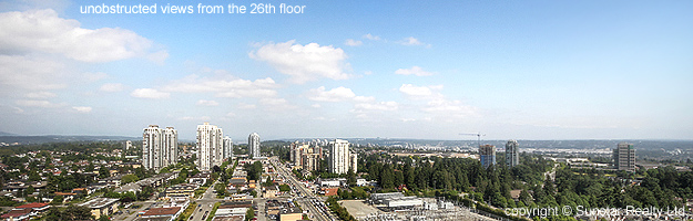 beautiful from the balcony of #2605- 6688 Arcola St, Burnaby in Luma