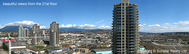 beautiful views from OMA #2101- 2345 Madison Ave, Burnaby condo for rent property managed by Sunstar Realty Ltd.