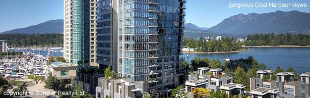 gorgeous water and mountain views from #802- 1205 W. Hastings St, Vancouver at the Cielo property managed by Sunstar Realty Ltd.